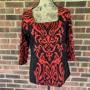 NWT New Directions black red long sleeve top